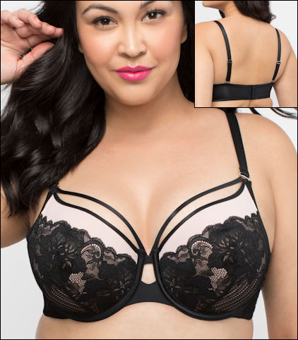 Curvy Couture Tulip Bra Underwire Sheer Neckline Scallop Lace Convertible Style 1267-BAR