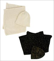 Four Buttons Lurex Knit Infinity Scarf and Beanie Set Style KNH3334