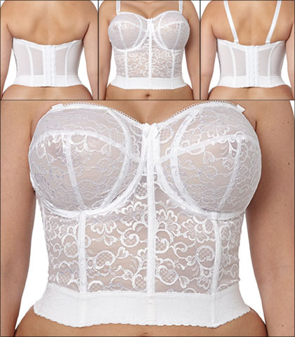 Goddess Lace Bridal Bra Underwire Bustier Longline Style GD0689-WHE
