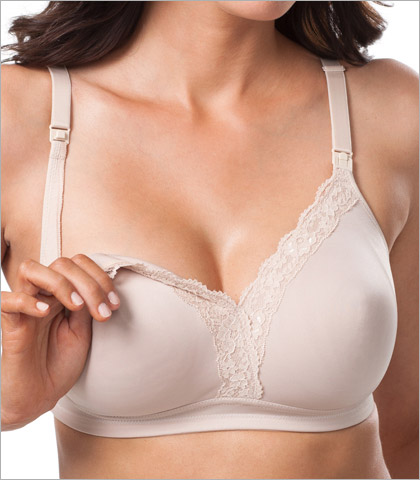 Leading Lady Molded Comfort Wirefree Bra w Lace Neckline Style 4006