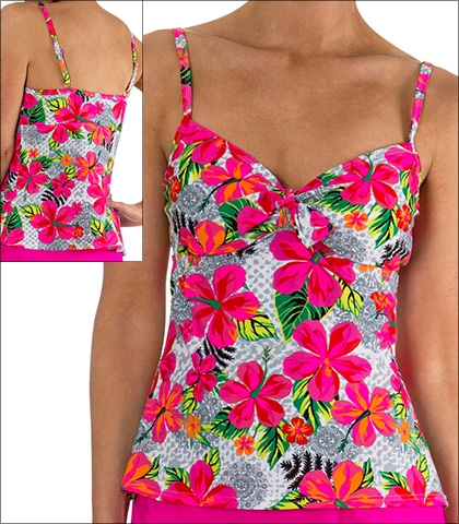 Mazu Tie Front Underwire Tankini Top Style 1068 in Pink Print