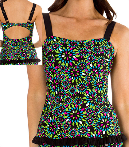 Mazu Ruffled Hem Bandeau Tankini Top Style 1075 in Black Multi Print