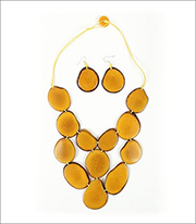 Organic Tagua Jewelry Waterfall Handcrafted Organic Cascading Necklace And Earring Set Style LC205 In Color Amarillo