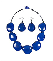 Organic Tagua Jewelry Riverstone Handcrafted Carved And Polished Statement Necklace And Earring Set Style LC203 In Color Azul Blue