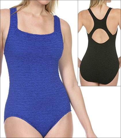 Penbrooke Krinkle Swimwear One Piece Style 70006-BLK