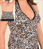 Sunshine Zone Halter Adjustable Bottom Tankini Top with Laced Neck Line Animal Print