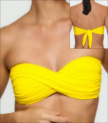 Tara Grinna Miletus Solid Twist Front Bandeau Bikini Top Style 136