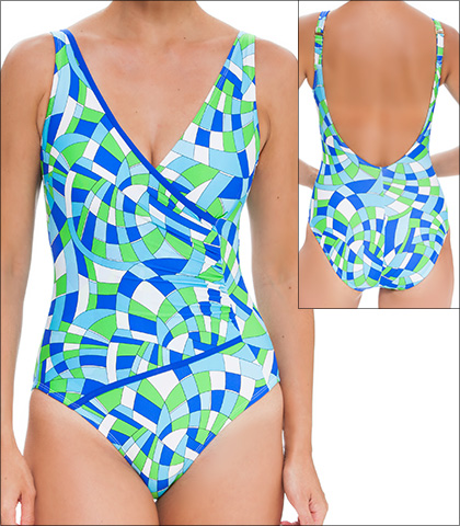 Tara Grinna Baia do Sancho Swimwear One Piece Surplice Maillot Style 16-BA-313
