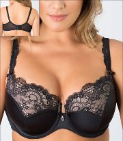 4e6dc57735828b Curvy Couture Tulip Lace Bra Underwire Push Up Padded Style 1017-BLK
