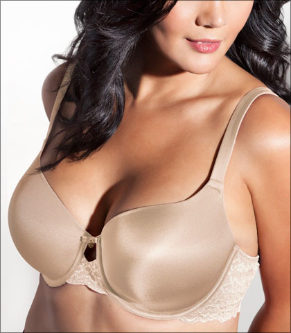 Curvy Couture Lace Shine Bra Underwire Support Keyhole Detail Style 1102-BND