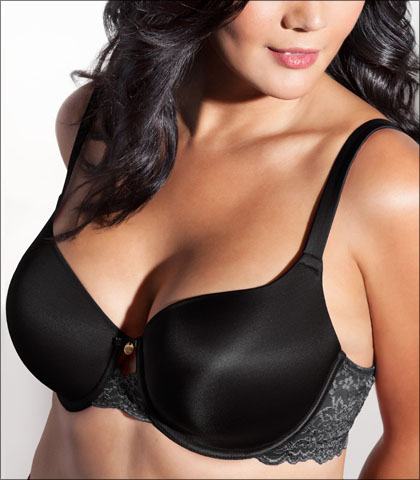 Curvy Couture Lace Shine Bra Underwire Support Lace Keyhole Detail Style 1102
