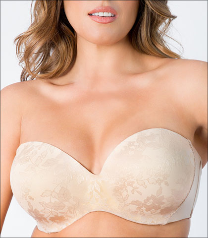 Curvy Couture Strapless Sensation Bra Underwire Push Up Convertible Style 1211-BND