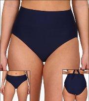 4774c095ea Tara Grinna Navy Blue Swimwear Bottom Bikini High Rise Fold Waist Style 18- NV-