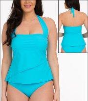 6136a7e8cf Tara Grinna Turquoise Swimwear Top Tankini Bandeau Halter Style 18-TU-150